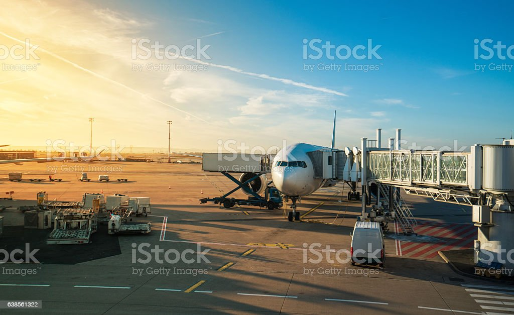 Paris airport at sunrise stock photo