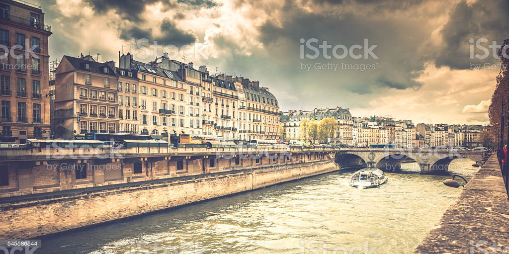 Paris along the Seine river stock photo
