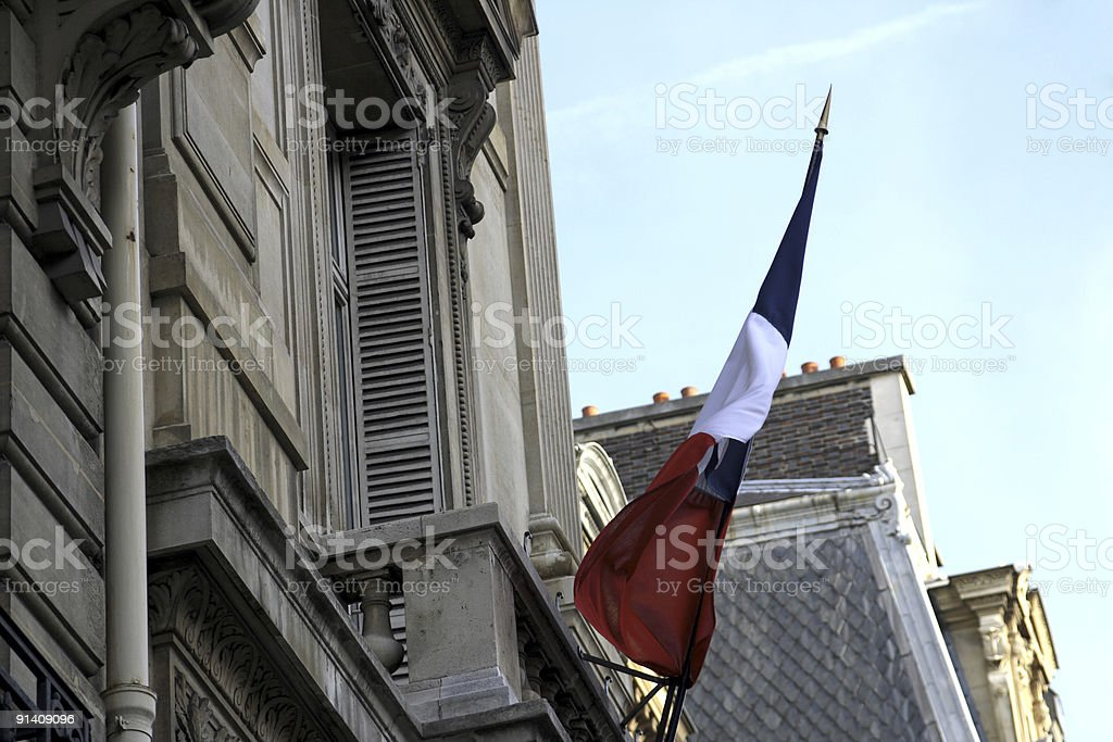 Paris and the flag stock photo