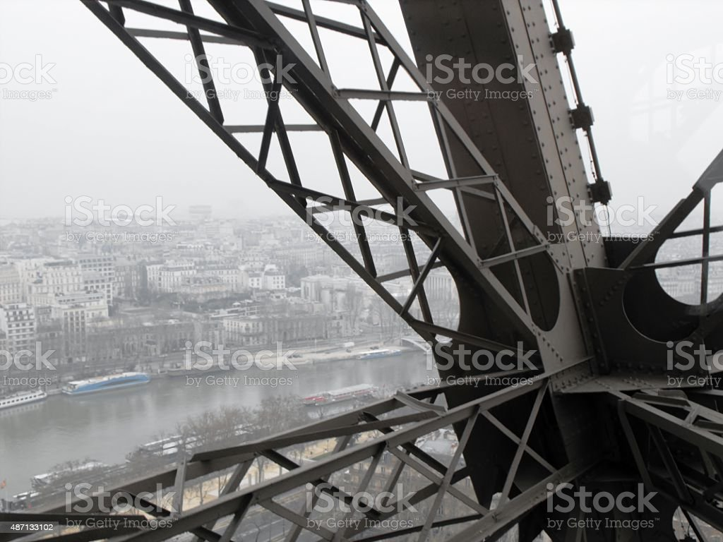 Paris and the Seine from the Eiffel Tower stock photo