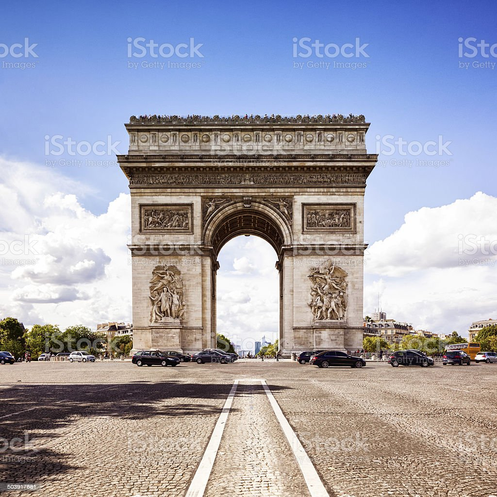 Paris Arc de Triomphe Frontal view stock photo