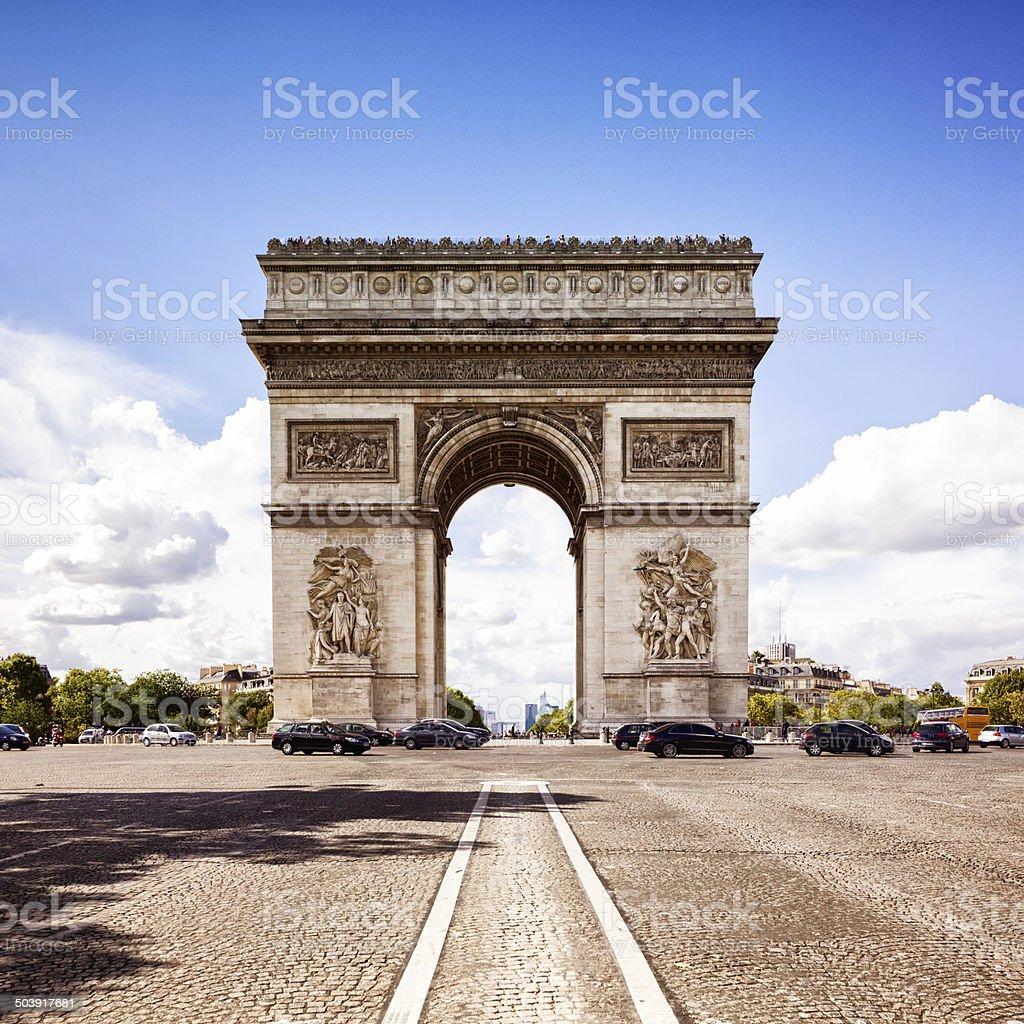 Paris Arc de Triomphe Frontal view stock photo