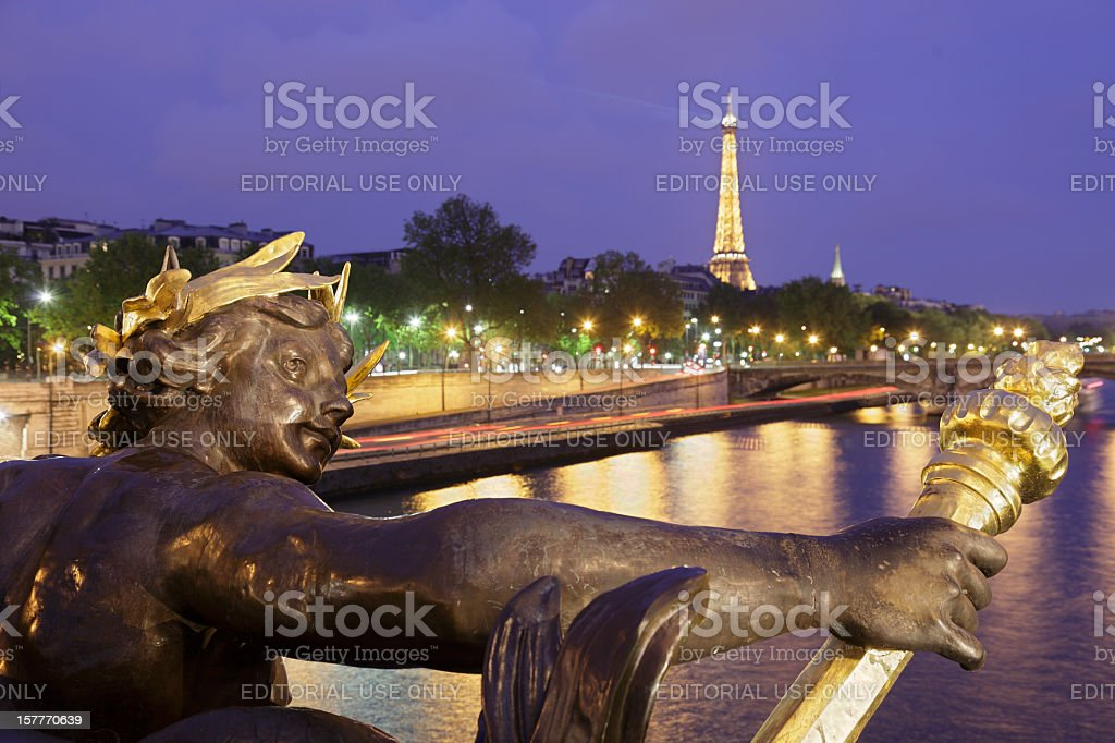 Paris Architecture at Night royalty-free stock photo
