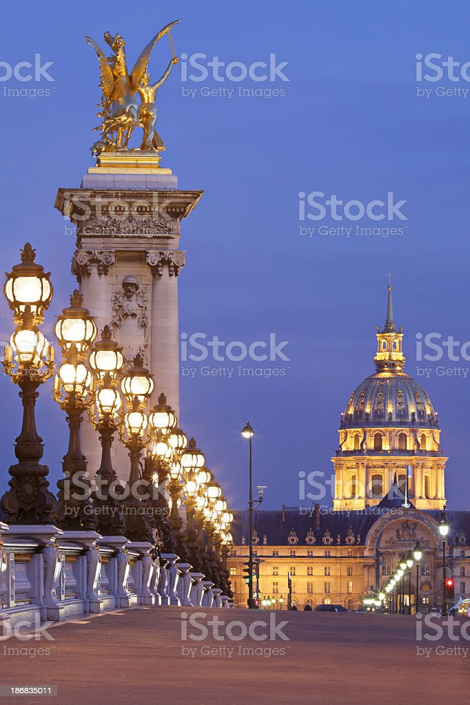 Paris architecture illuminated at night stock photo