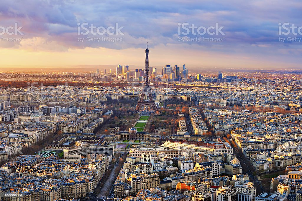 Paris at sunset stock photo