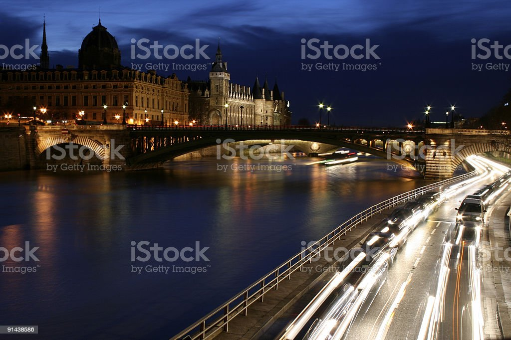 Paris at Twilight - with light trails royalty-free stock photo
