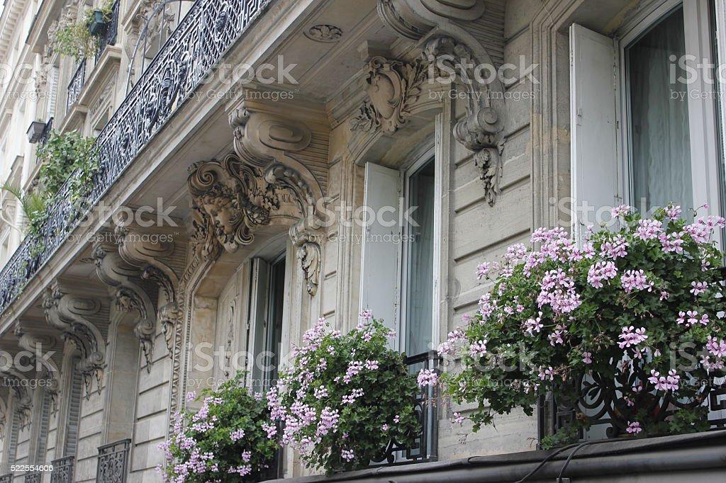 Paris Balcony Flower Boxes stock photo