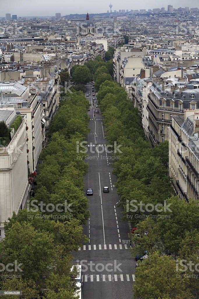 Paris Boulevard View, Tree Lined Street royalty-free stock photo
