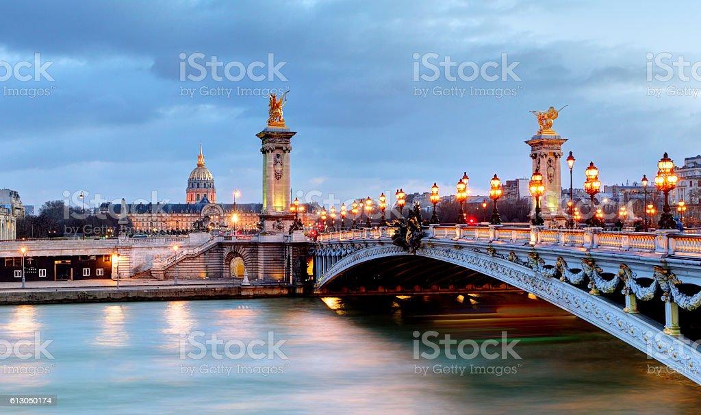 Paris bridge Alexandre 3, III and Seine river stock photo