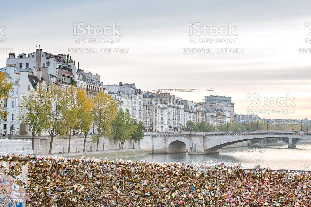 Paris bridge, Pont de L'Archeveque, looking east stock photo