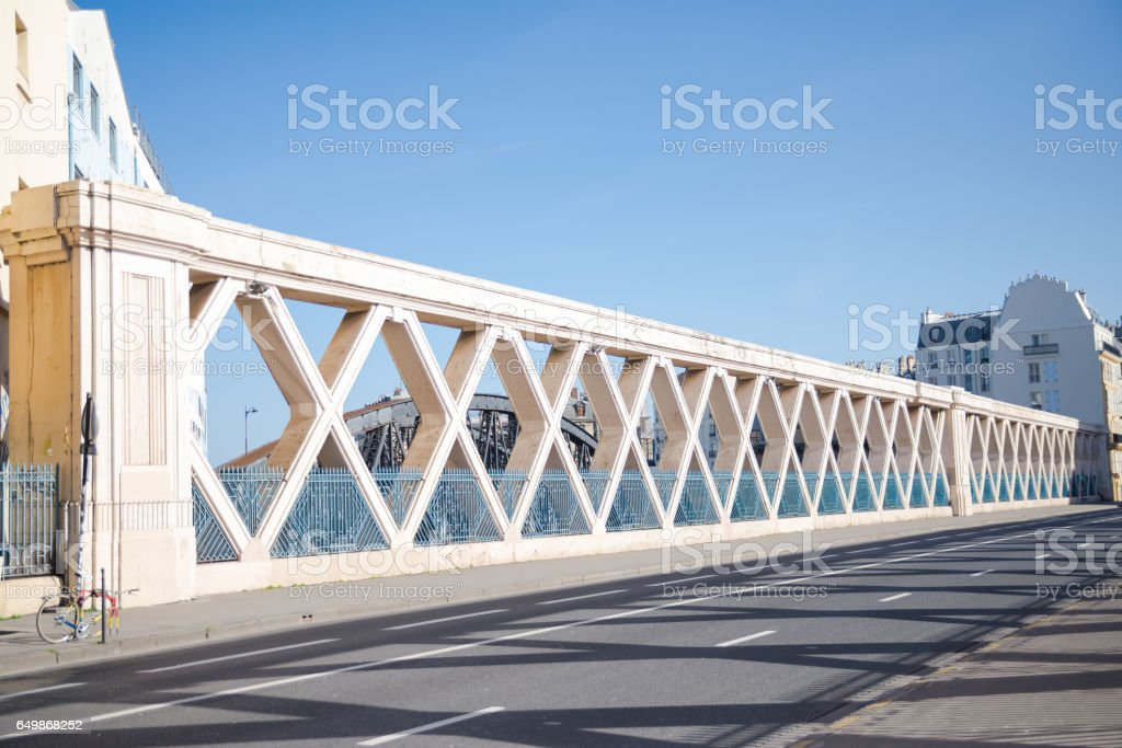 Paris, bridge, rue Lafayette stock photo