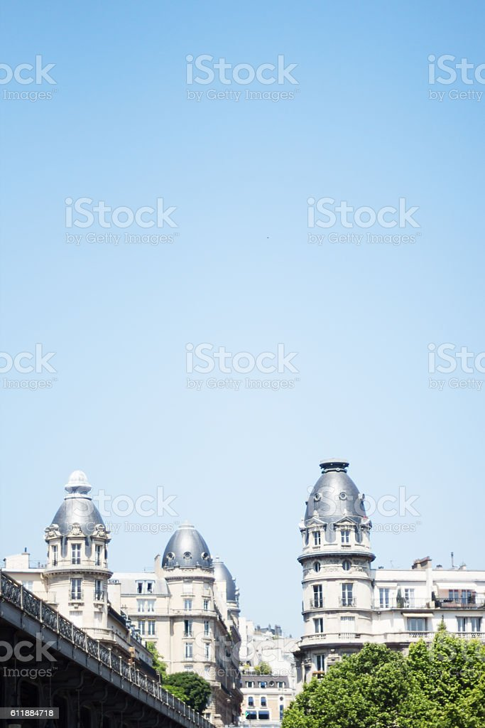 Paris buildings and Metro viaduct stock photo