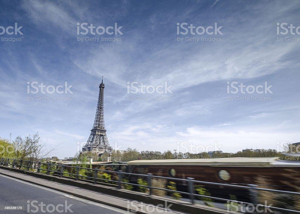 Paris by car stock photo
