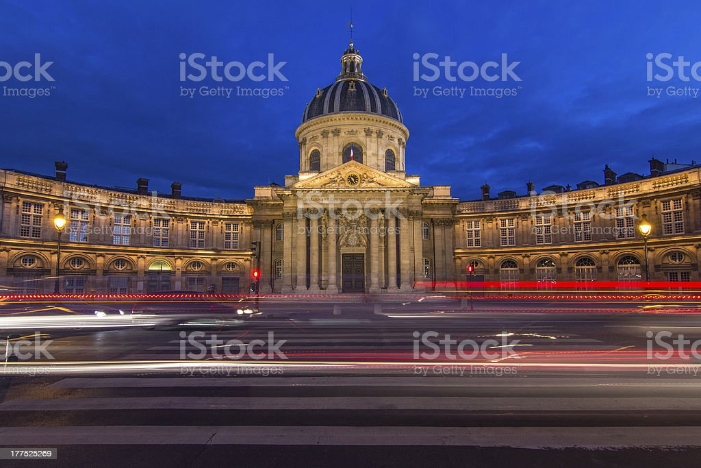 Paris by night-Institut de france royalty-free stock photo