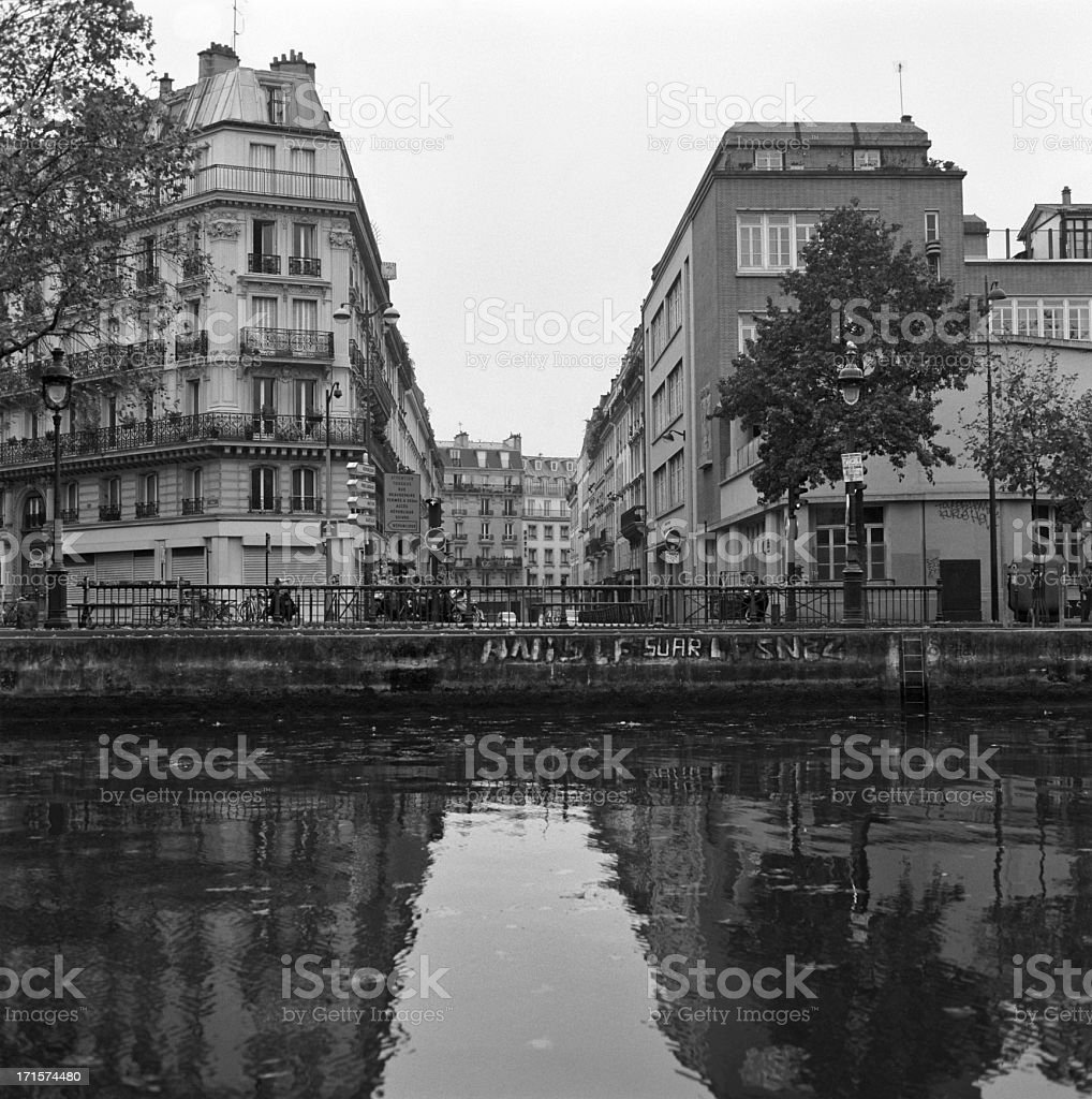 Paris, Canal St Martin -  Black and White film stock photo