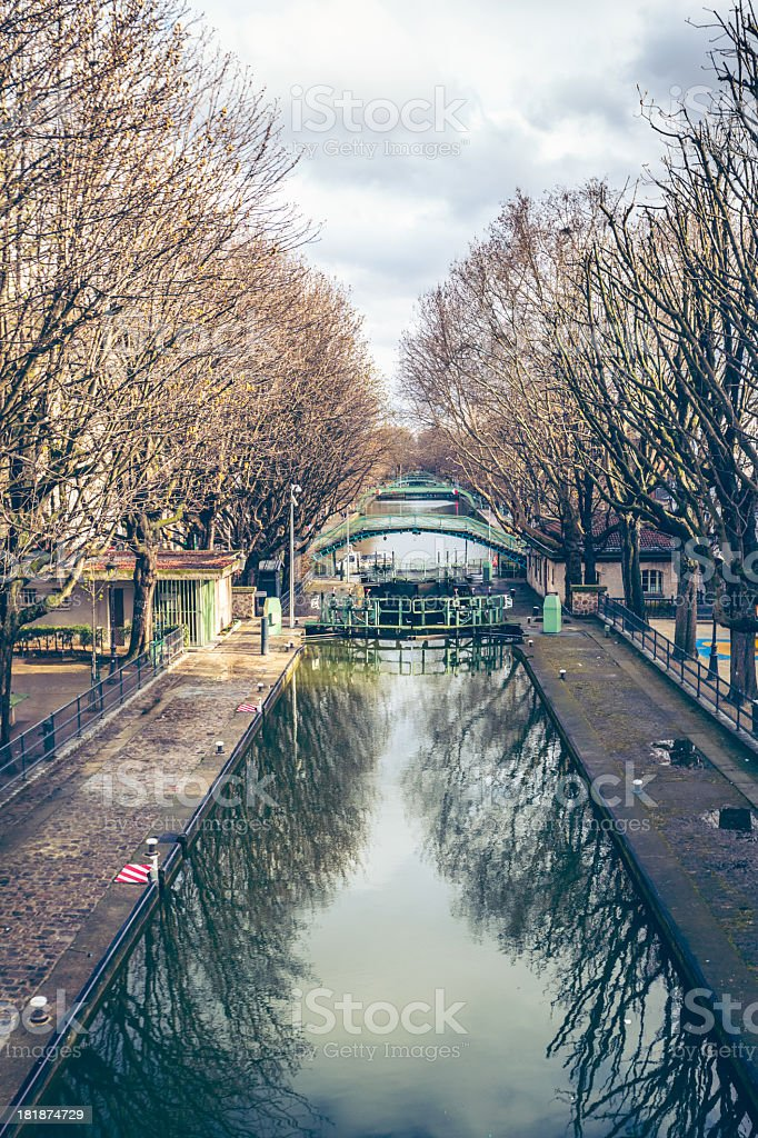 Paris Canal St Martin stock photo