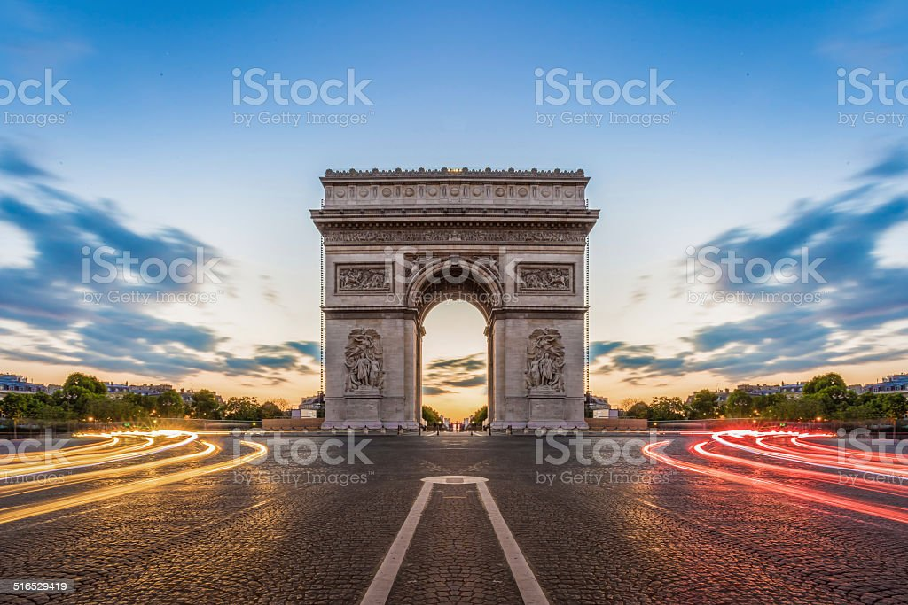 Paris, Champs-Elysees at night. stock photo