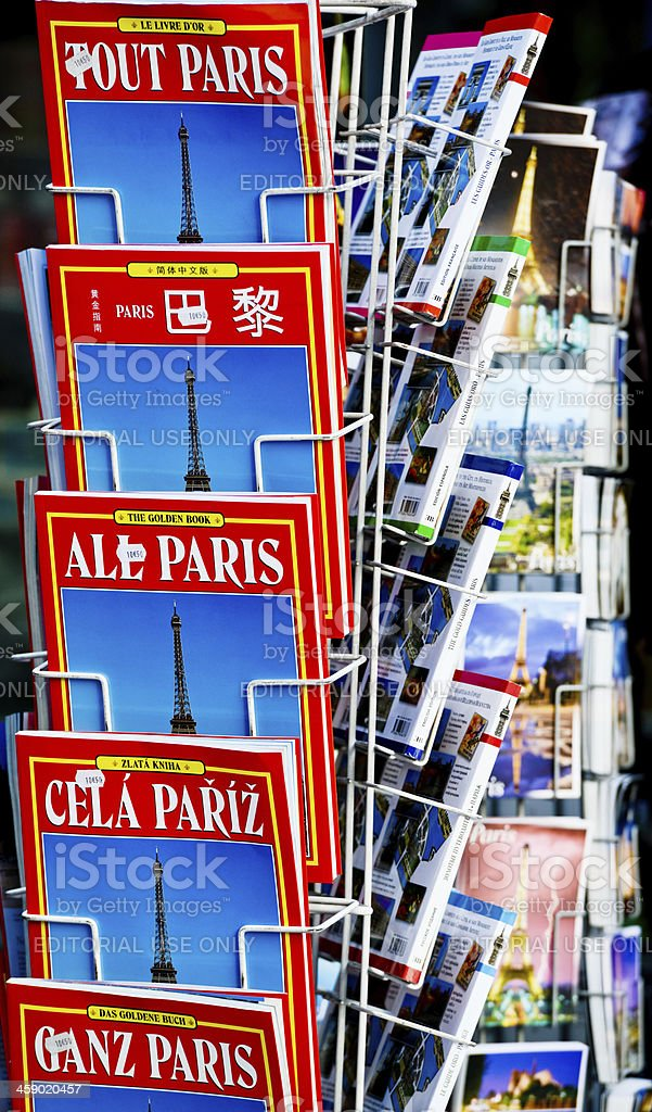 Paris City Guides for sale in a gift store, France royalty-free stock photo