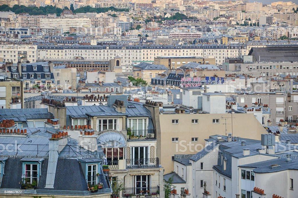 Paris city panorama view from sacre ceur stock photo