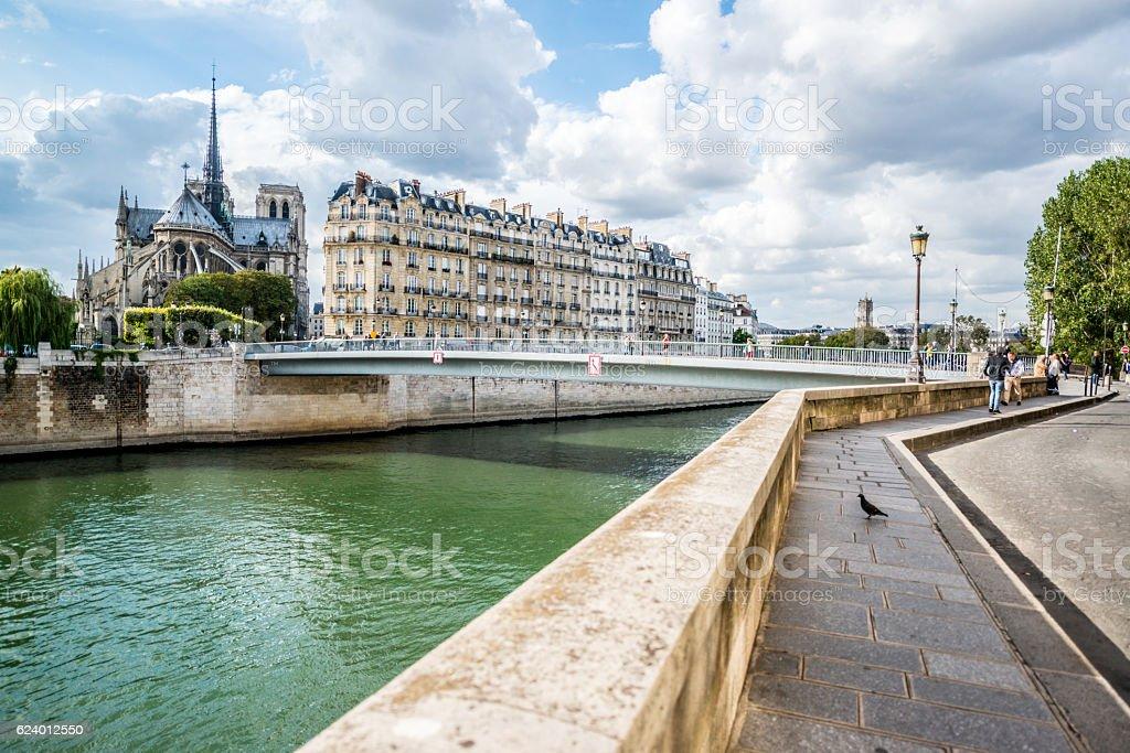 Paris cityscape from Ile Saint-Louis, France stock photo