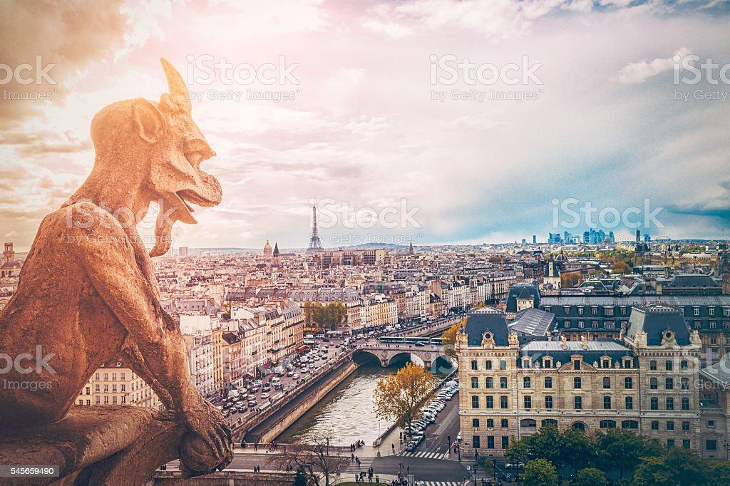 Paris Cityscape from Notre Dame stock photo