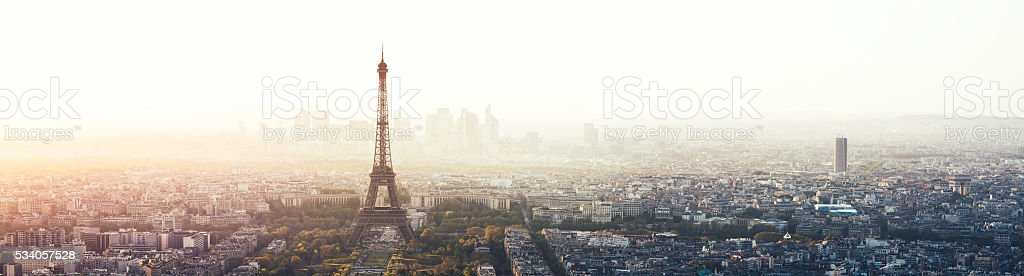 Paris Cityscape Panorama With Eiffel Tower stock photo