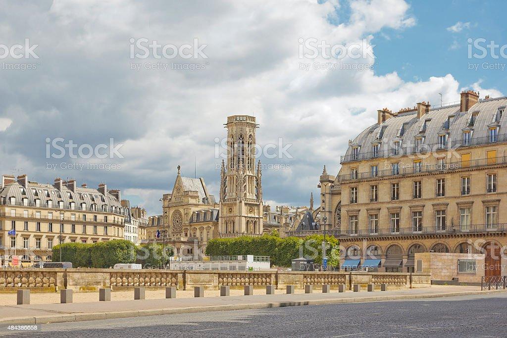 Paris cityscape with church of Saint-Germain-l'Auxerrois stock photo