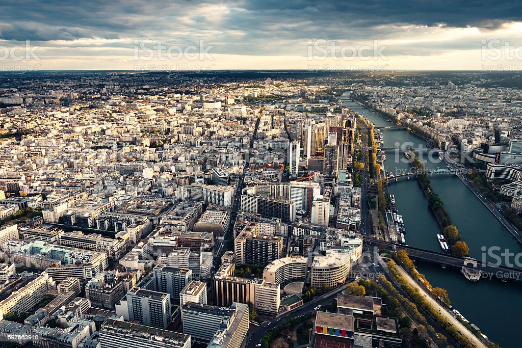 Paris Cityscape With Seine River stock photo