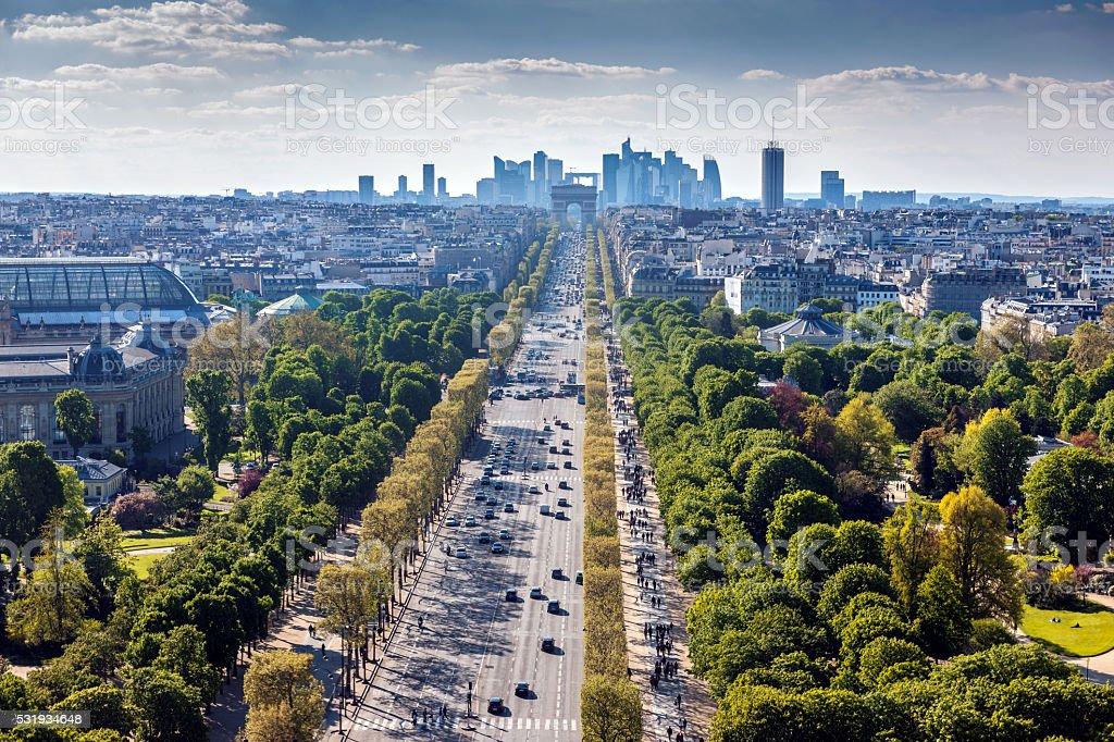 Paris cityscape,Avenue de la Grande Armee,France stock photo