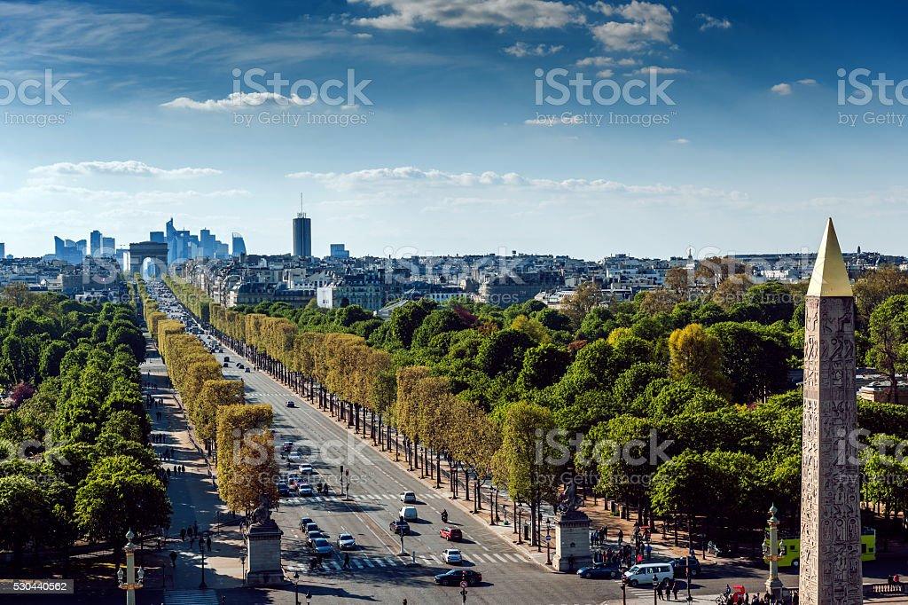 Paris cityscape,Avenue de la Grande Armee,Luxor Obelisk,France stock photo