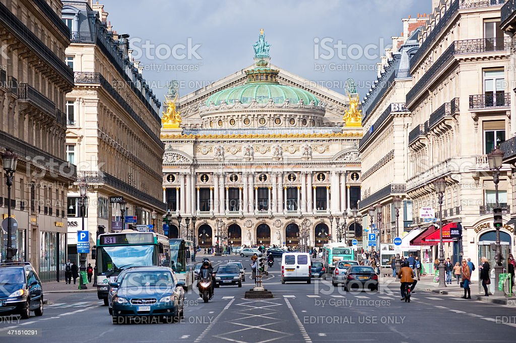 Paris downtown scene with opera house royalty-free stock photo