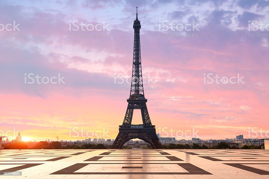 Paris , Eiffel tower at sunrise stock photo