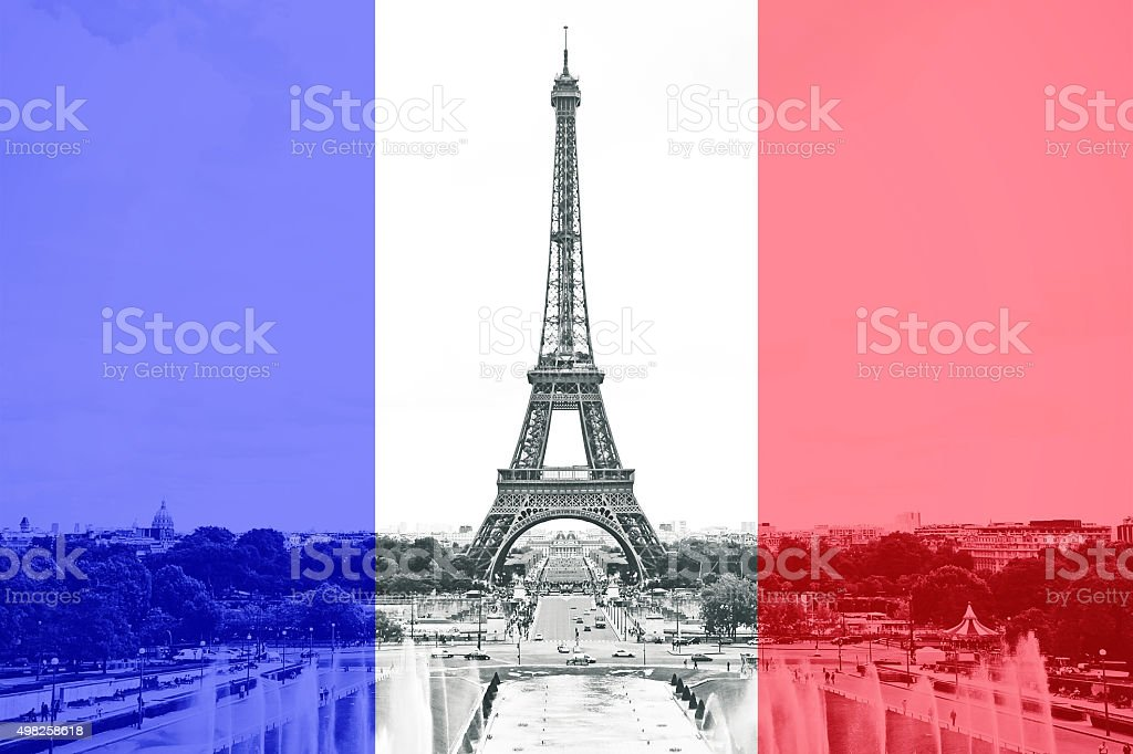 Paris Eiffel Tower French Flag NEW stock photo