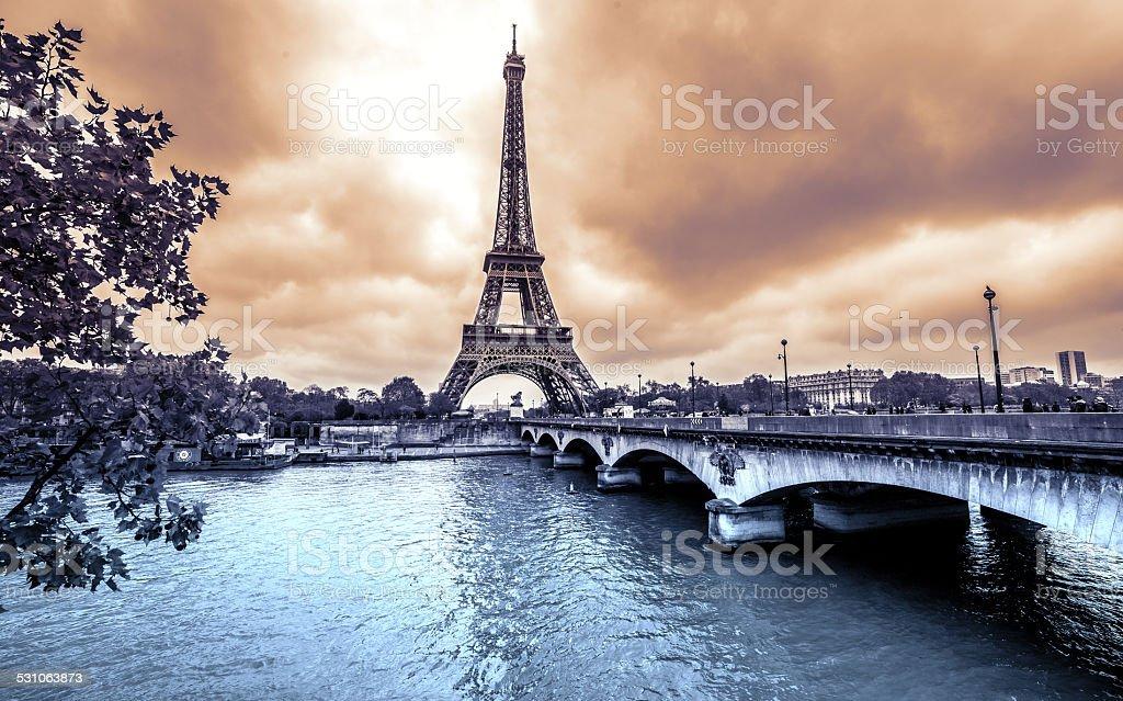 Paris, Eiffel Tower from Seine. Vintage effect stock photo