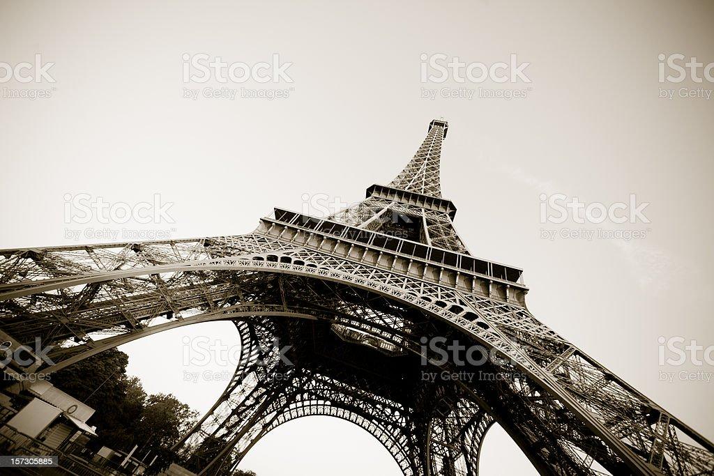 Paris - Eiffel Tower in sepia royalty-free stock photo