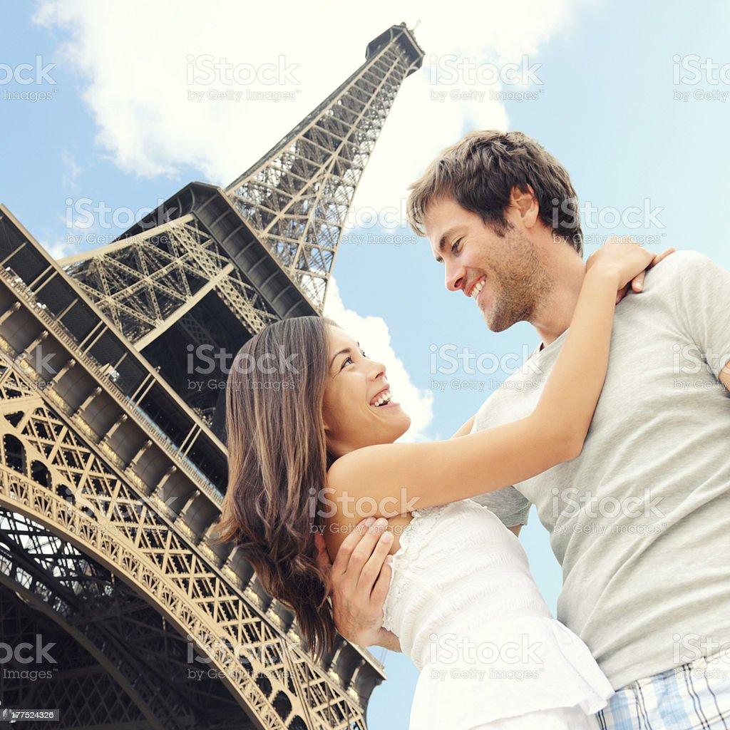 Paris Eiffel tower romantic couple stock photo