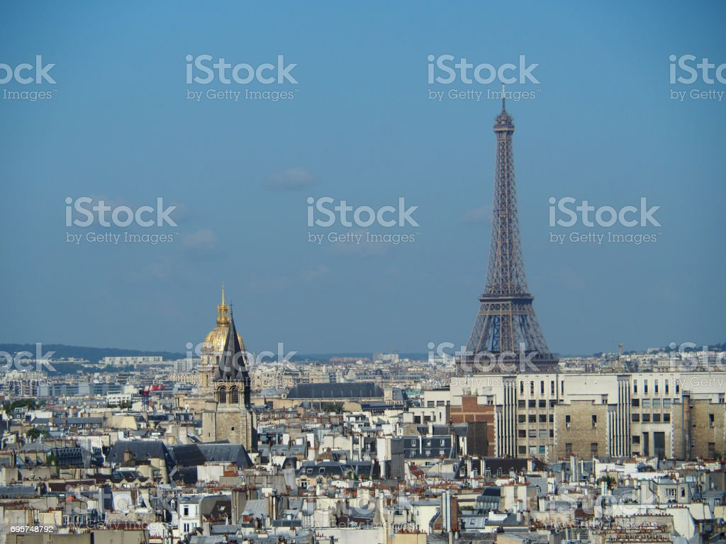 Paris. Eiffel Tower shot from Notre Dame Cathederal. stock photo