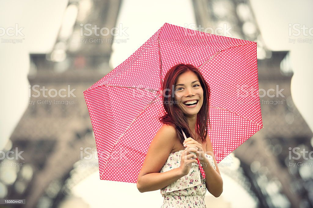 Paris Eiffel Tower Woman stock photo