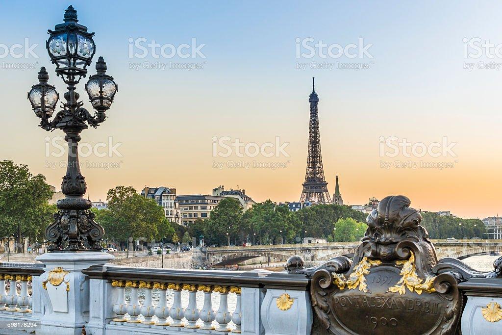 Paris evening stock photo