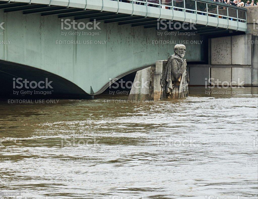 Paris floods and The Zouave statue, Paris, France royalty-free stock photo