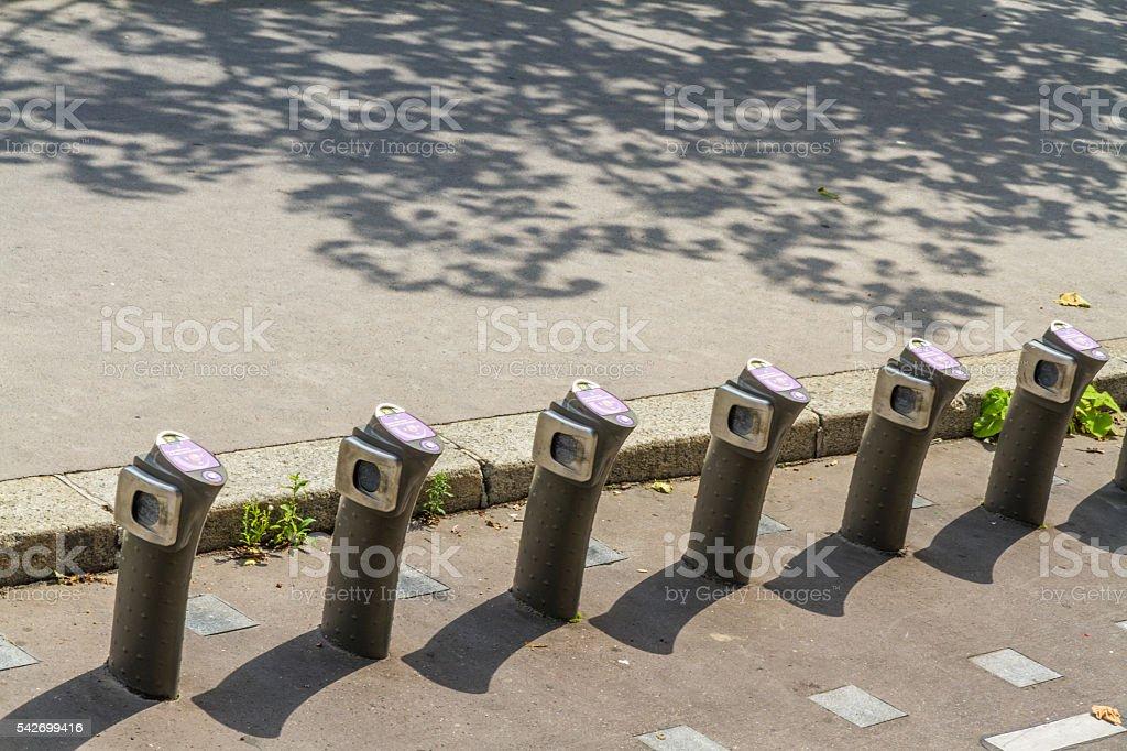 Paris, France August 23: Velib automatic bicycle hire statio stock photo