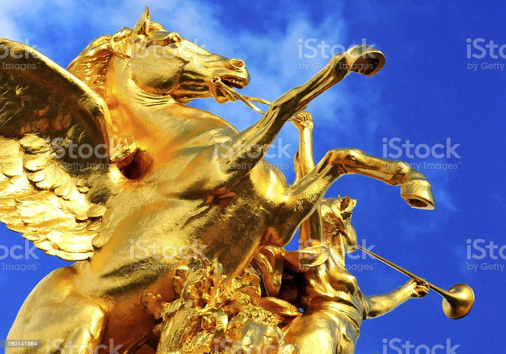 Paris, France: flying horse at Alexandre III bridge royalty-free stock photo
