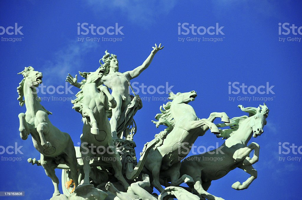 Paris, France: Grand Palais, quadriga, L''Harmonie triomphant de la Discorde stock photo