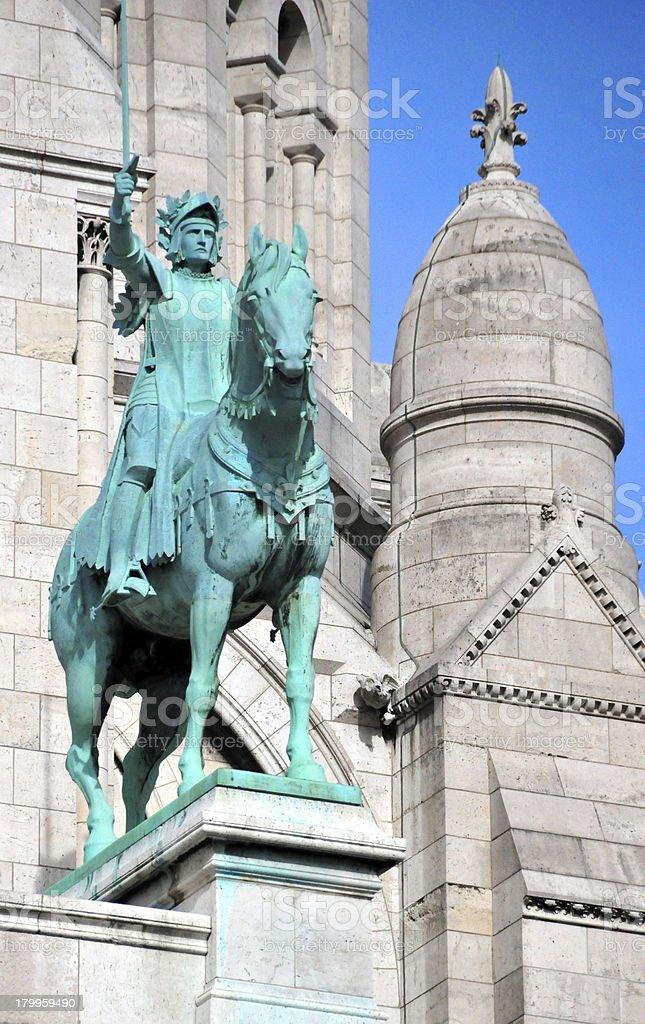 Paris, France: Joan of Arc statue, Sacr?-Coeur Basilica royalty-free stock photo
