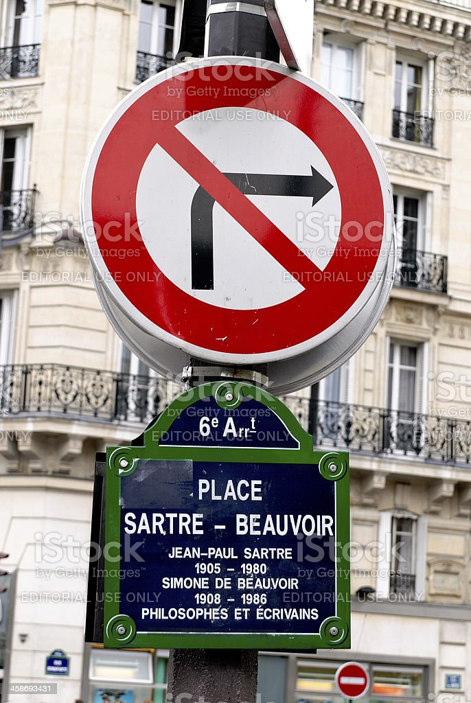 Paris, France: Place Sartre-Beauvoir street sign stock photo