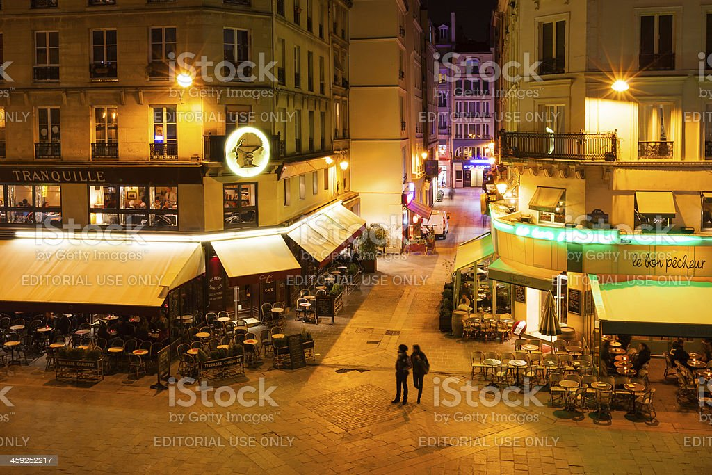 'Paris, France, Restaurants in the evening' stock photo