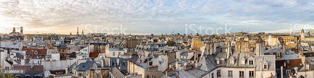 Paris France Skyline Panorama at Sunset stock photo