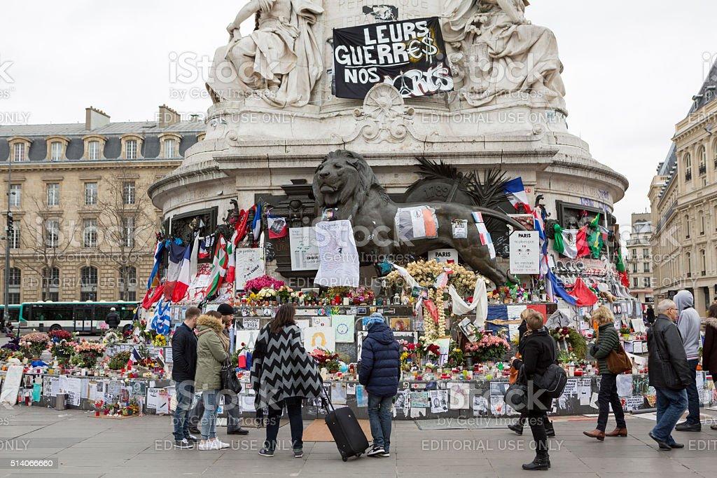 Paris, France Terrorism Attack Memorial (13 November 2015) Place Republique stock photo