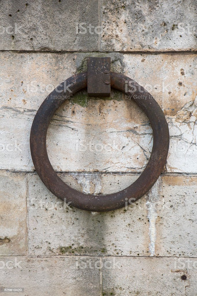 Paris, France Travel Destination Old Brick Wall with Ring stock photo