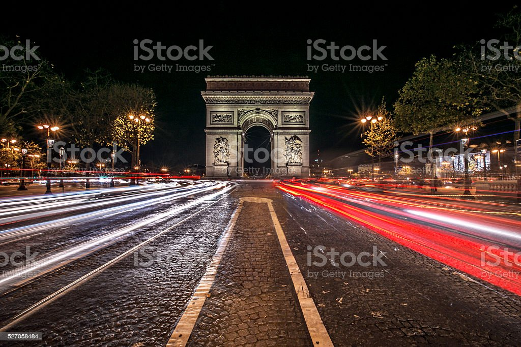 Paris France. Triumph in front of traffic stock photo